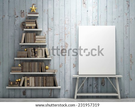 Mock up poster and bookshelf shaped christmas tree - stock photo