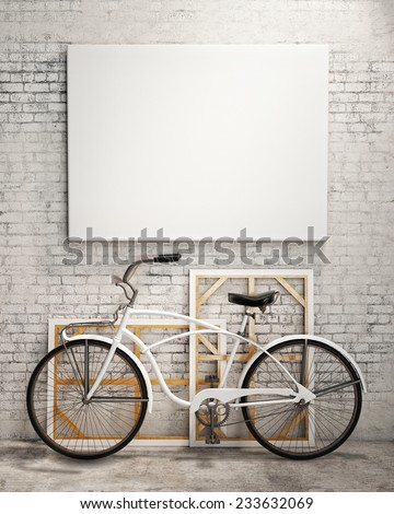 mock up poster and canvas in vintage hipster loft interior background with bicycle, 3D render - stock photo