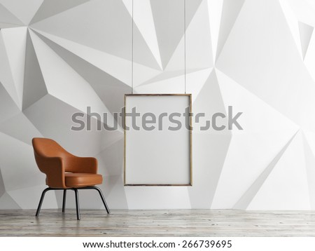 mock up poster, empty interior design, 3d illustration - stock photo