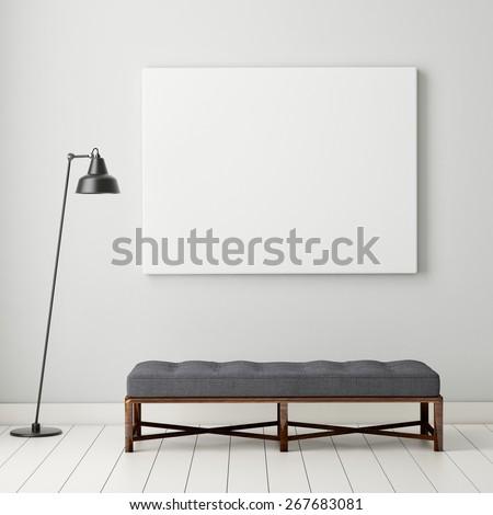 mock up poster frame in hipster interior background, 3D render - stock photo