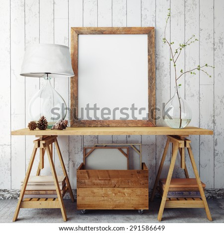 mock up poster frame in hipster interior background, 3D render - stock photo