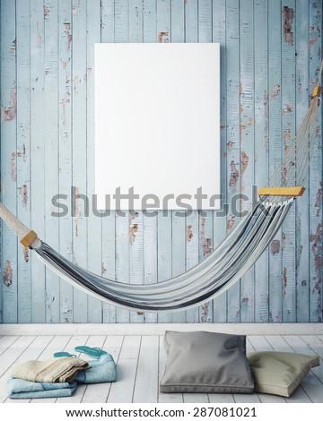 mock up poster frame in summer concept hipster interior background, 3D render - stock photo