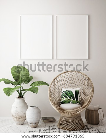 mock up poster frame in tropical interior background, modern Caribbean style, 3D illustration