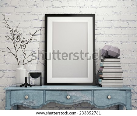 mock up poster frame with on vintage chest of drawers, hipster interior background, 3D render - stock photo