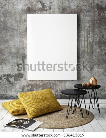 mock up poster frames in hipster interior background, 3D render - stock photo