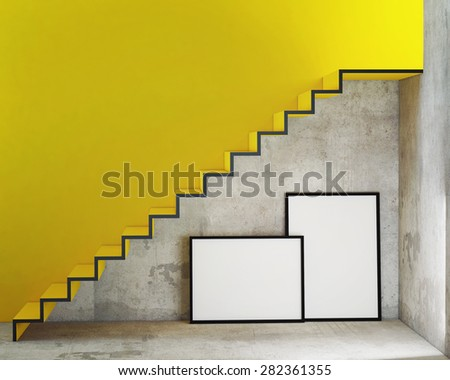 mock up poster frames in interior background with stairs, 3D render - stock photo