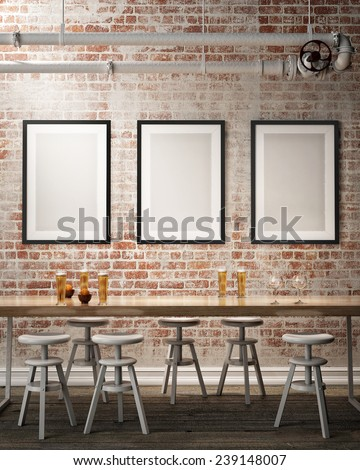 Mock Up Poster Frames On The Wall Of Retro Hipster Cafe Restaurant, Interior  Background,