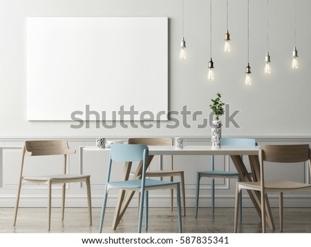 blank poster on grey wall hipster stock illustration 577559431