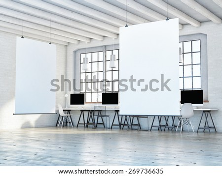 mock up poster in loft space, 3d illustration - stock photo