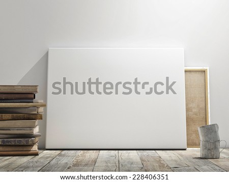 Mock up poster in white wall, wooden floor and wintge background. Horizontal concept - stock photo