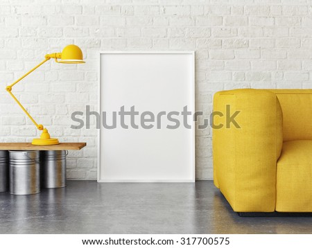 Mock up poster, interior composition, sofa, lamp and white poster, 3d render - stock photo