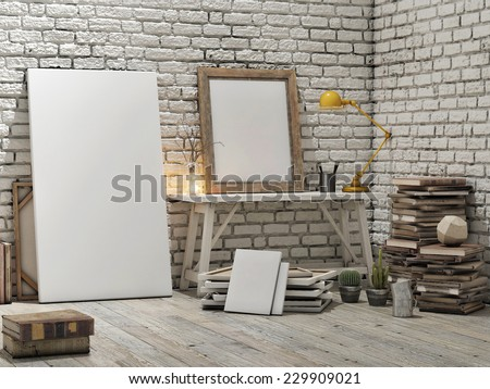 Mock up poster, loft studio, white brick wall background - stock photo