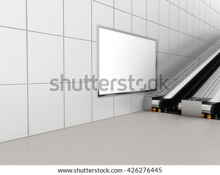Mock up poster media template ads display in Subway station escalator. 3d rendering - stock photo