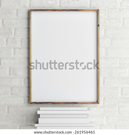 mock up poster on brick wall with books, 3d rendering - stock photo