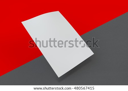 Mock up poster on dark and red background. 3D rendering poster standart format A5 / A4 / A3 / A2 / A1/ A0. Three-dimensional rendering.