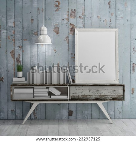 Mock up poster on table in room - 3D illustration - stock photo