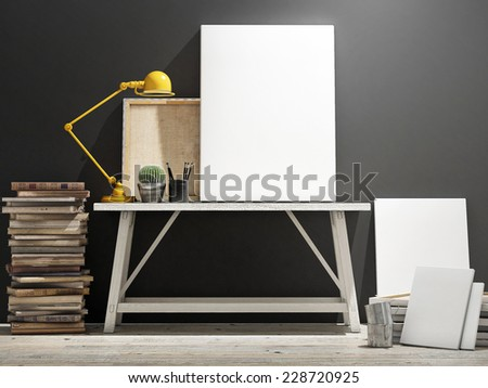 Mock up poster on table, wooden floor and grey wintge background. Vertical concept - stock photo