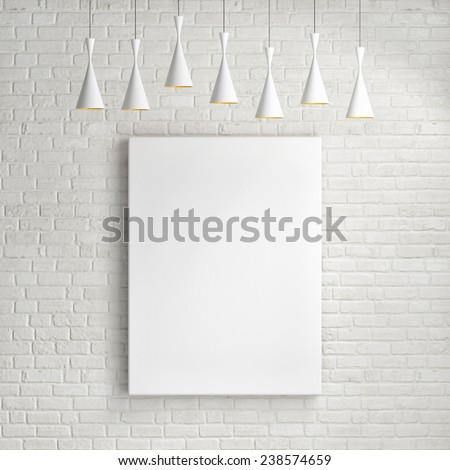 Mock up poster on the brick wall, vertical - stock photo