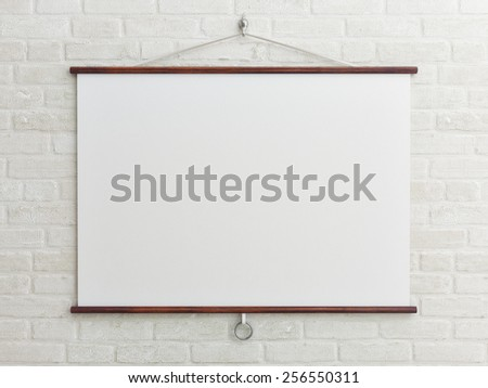 mock up poster on white brick wall - stock photo