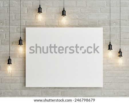Mock up poster with ceiling lamps, 3d illustraton - stock photo