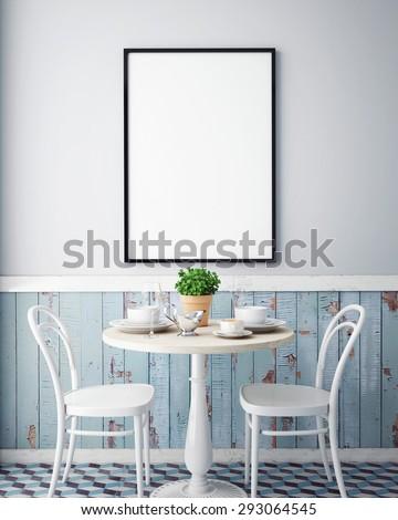 mock up poster with vintage hipster cafe restaurant interior background, 3D render - stock photo