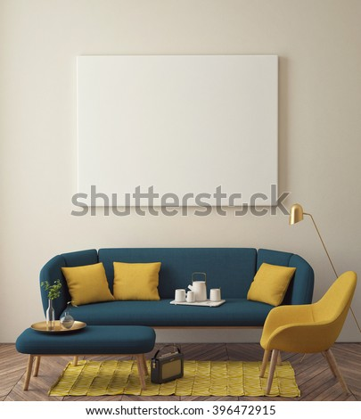 mock up poster with vintage hipster loft interior background, 3D render - stock photo