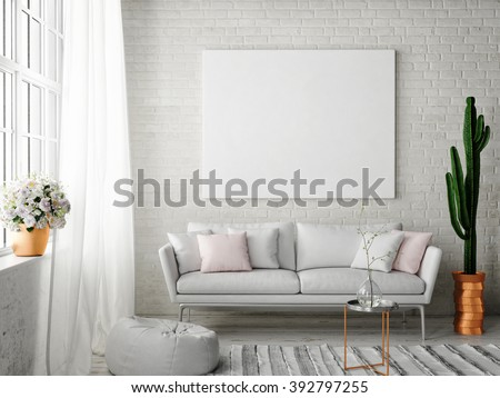 mock up poster with vintage hipster loft interior background, 3D rendering  - stock photo
