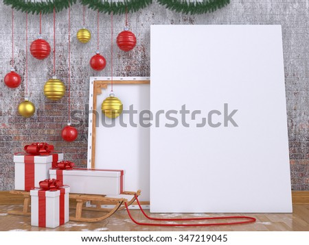 Mock up poster with wooden sledge, Christmas ball and presents. 3D render illustration - stock photo