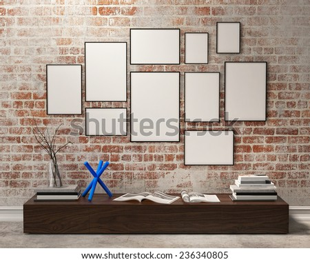 mock up posters frames composition with vintage hipster loft interior background, 3D render - stock photo