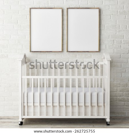 Mock up posters with baby bed, 3d illustration - stock photo