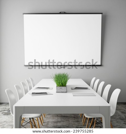 mock up projection screen in meeting room with conference table, hipster interior background, 3D render - stock photo