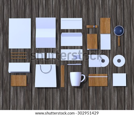 Mock-up render. Brand identity template. Blank space for advertisement. Top view branding mock up. - stock photo