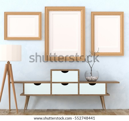 Mock up retro interior. Light wooden cabinet with dark legs and a tree in a glass vase, light floor lamp on a light laminate. A lot of pictures with a blank canvas. 3d rendering