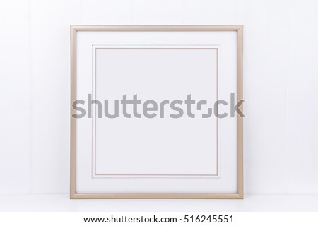 Mock up styled photography, plain thin square gold frame on a white background, overlay quote, promotion, headline, or design, great for small businesses, lifestyle bloggers and social media campaigns