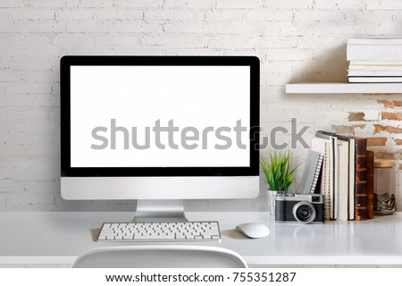 mock stylish designer workspace desktop computer stock photo download now 755351287 shutterstock