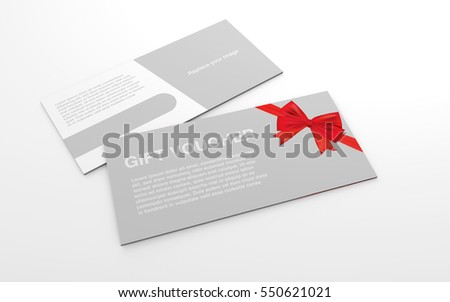 Gift voucher card stock images royalty free images vectors mock up template gift voucher card with red ribbon on the white background for graphic negle Gallery