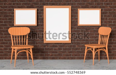 Mock up the interior of the gallery. Brick wall paintings and wooden chairs. 3d rendering