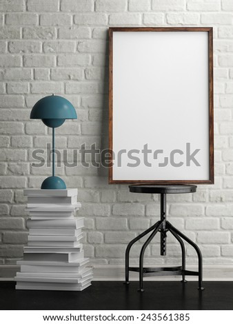 mock up white frame in room, white brick background, 3d illustration - stock photo