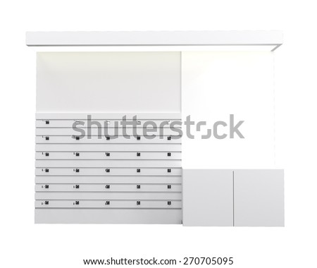 Mock up white poster for advertising at the retail shop shelf, 3D render and white isolated - stock photo