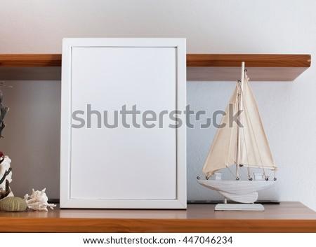 Mock Blank White Frame Little Wooden Stock Photo 447046234 ...