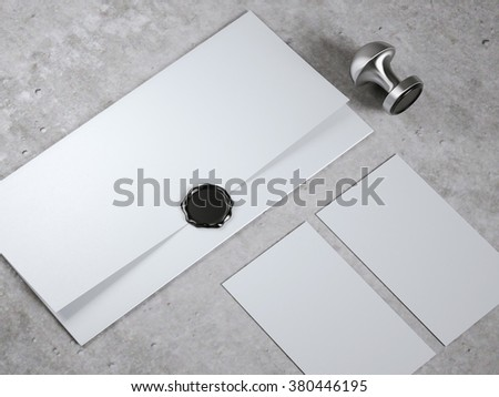 Mock up with envelope and seal stamp - stock photo