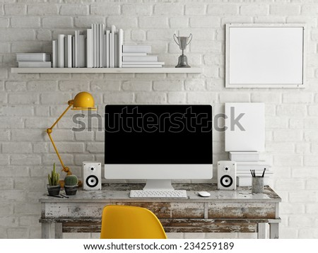 Mock Up work space, Monitor on table, 3d illustration - stock photo