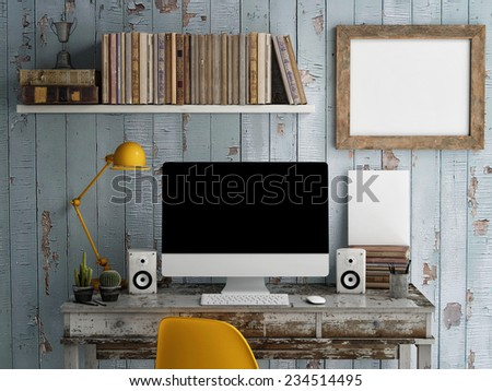 Mock Up work space, Monitor on table,3d render - stock photo