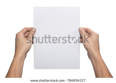 Mockup A4 letter vertical empty blank white holds the man in his hand. Isolated on a white background