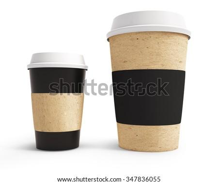 mockup cardboard coffee cup with lid - stock photo