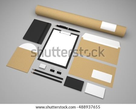 Mockup 3d illustration business template with clipboard and envelopes.