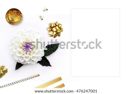 Mockup desktop. Flower with gold items on the table. Card invitation mock-up, flat lay. Wedding background