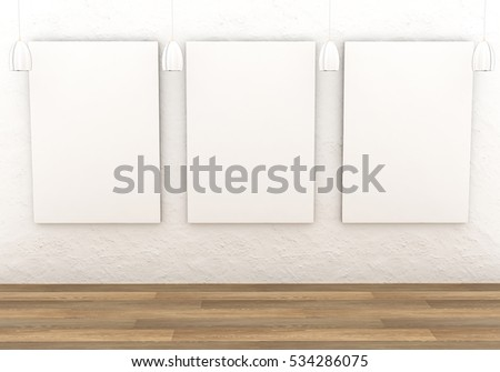 Mockup interior gallery. Paintings with a blank canvas and white lights in a room with white plastered wall. Light parquet. 3D-rendering