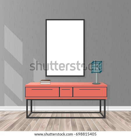 Mockup living room interior in hipster style with empty frame, bureau, lamp, parquet flooring, concrete wall and sunlight from the window. Loft design concept.