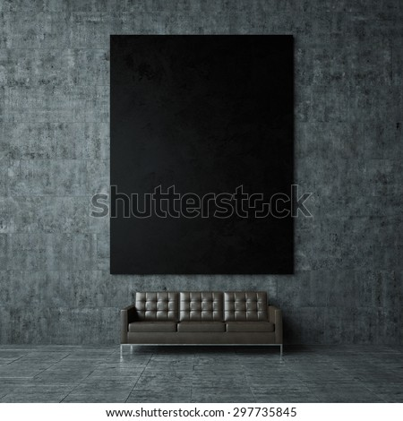 Mockup of black poster on the wall. 3d render - stock photo